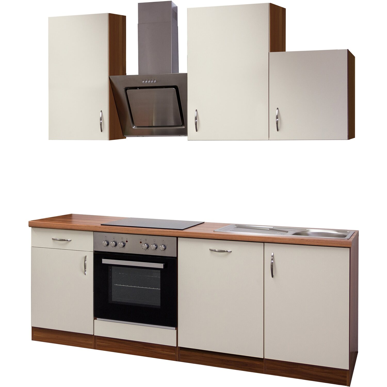 Flex-Well Exclusiv Küchenzeile Sienna 220 cm Creme-Zwetschge ...