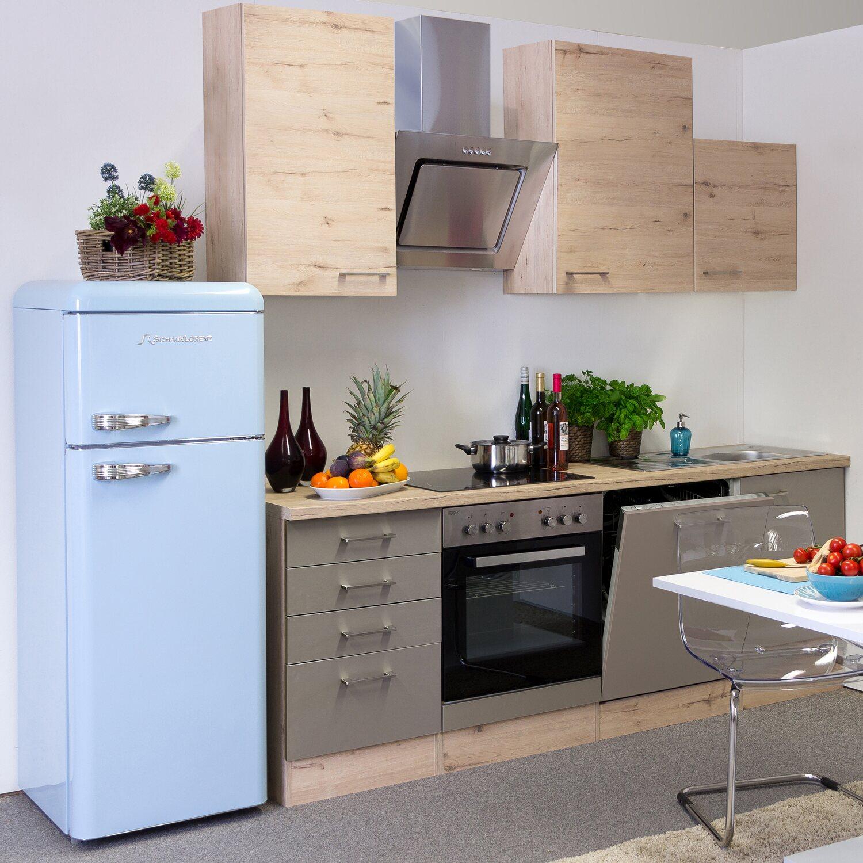 flex well exclusiv k chenzeile riva 220 cm quarz cubanit san remo eiche hell kaufen bei obi. Black Bedroom Furniture Sets. Home Design Ideas