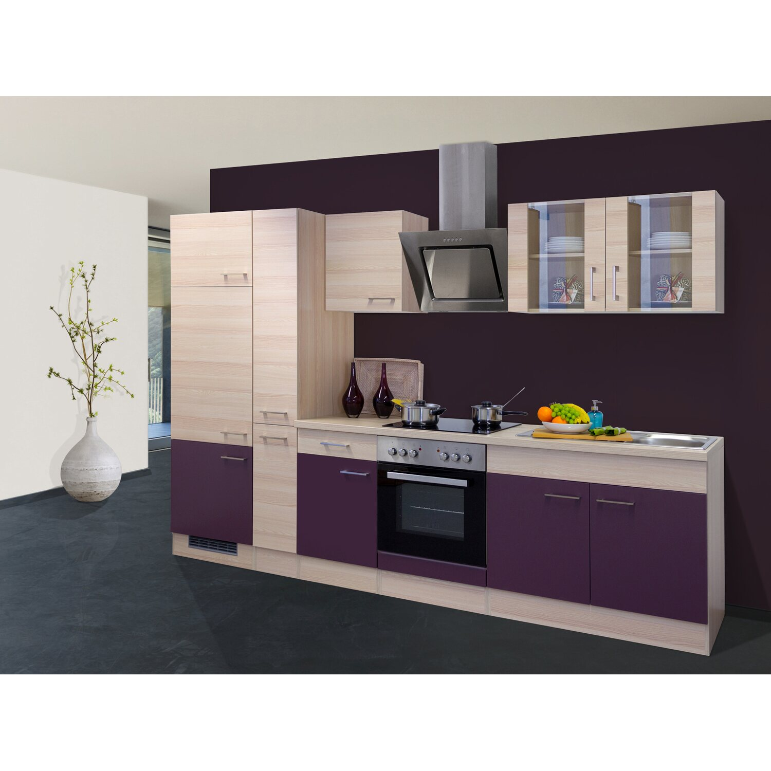 flex well exclusiv k chenzeile focus 300 cm akazie aubergine kaufen bei obi. Black Bedroom Furniture Sets. Home Design Ideas