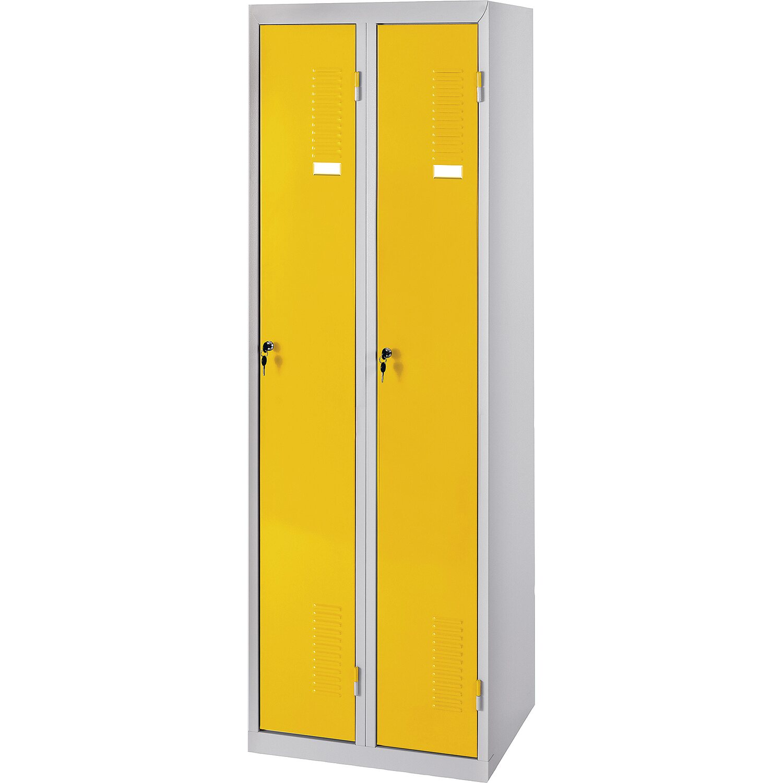 PRO-BAU-TEC Doppel Spind Schrank gelb Metallschrank Kleiderspind Stahlspind ***N