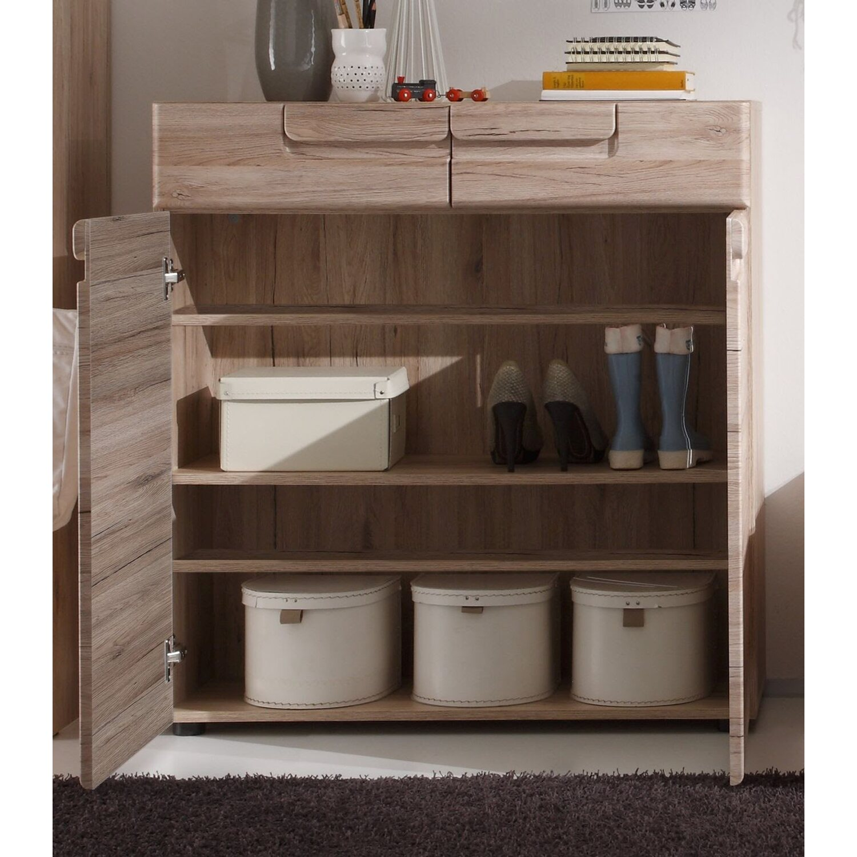 schuhschrank malea eiche san remo hell nachbildung 90 cm x. Black Bedroom Furniture Sets. Home Design Ideas