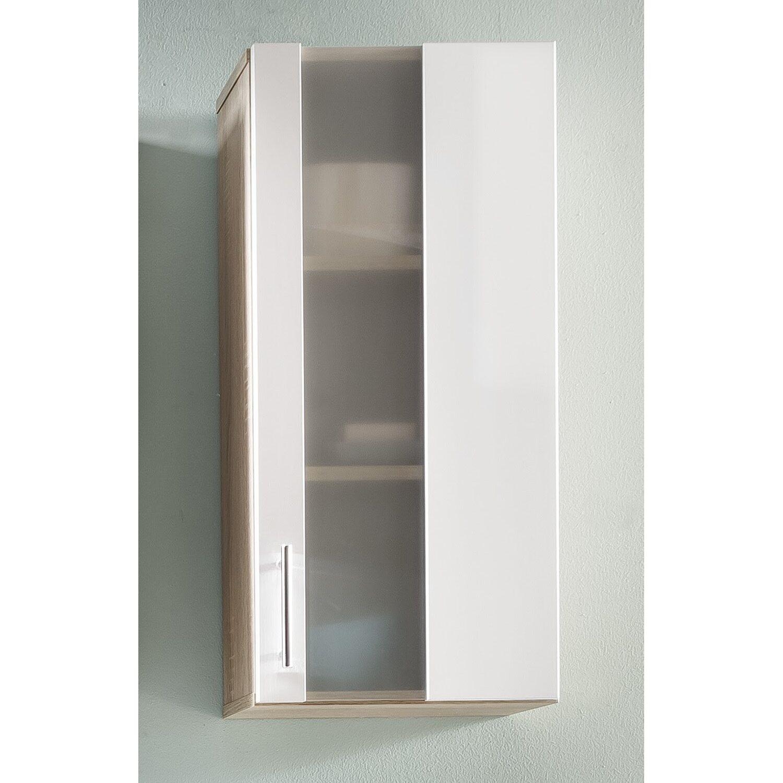 Hängeschrank Porto 33 cm Weiß-Eiche Sägerau