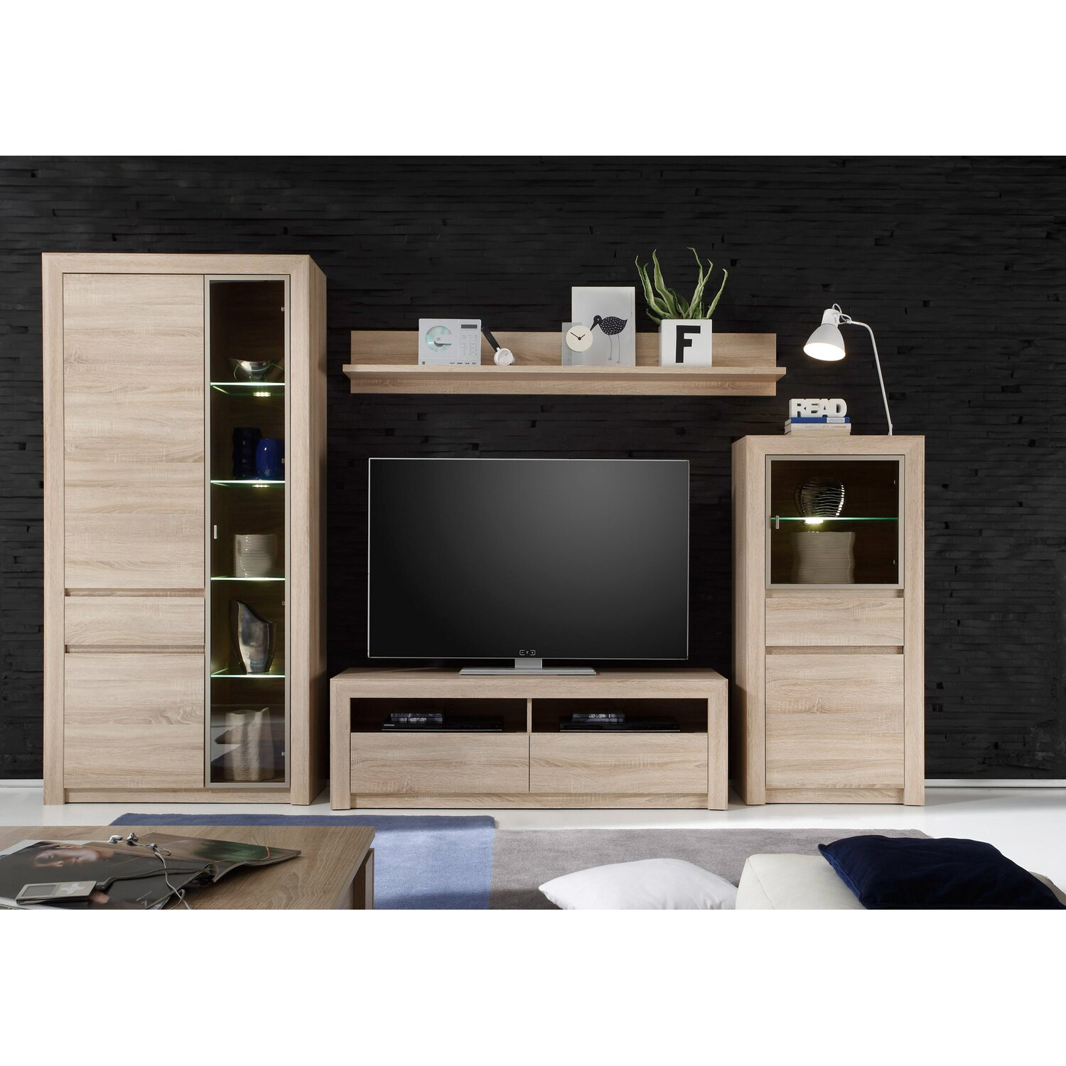 tv lowboard sevilla 140 cm x 46 cm x 48 cm eiche sonoma hell kaufen bei obi. Black Bedroom Furniture Sets. Home Design Ideas