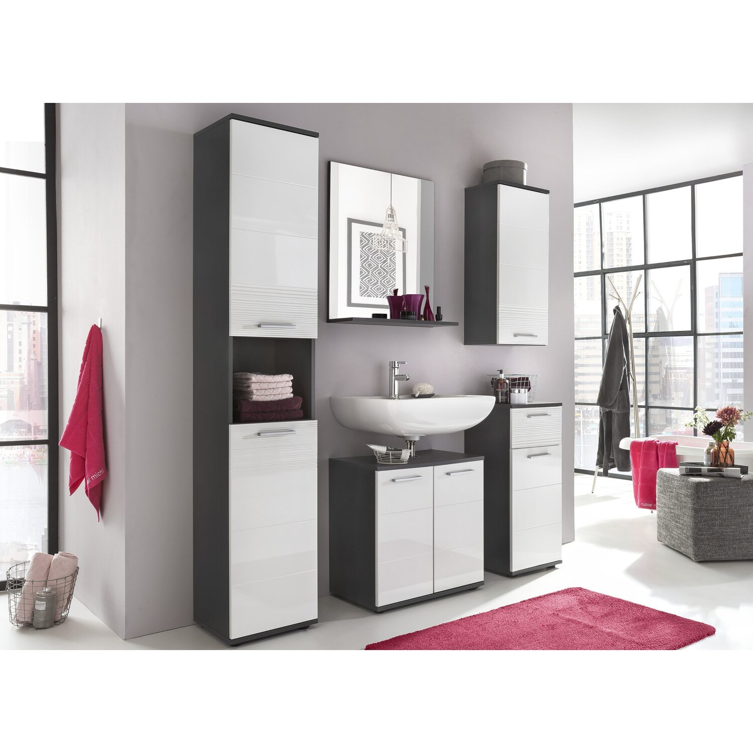 badspiegel mit ablage smart 60 cm x 71 cm x 20 cm wei grau kaufen bei obi. Black Bedroom Furniture Sets. Home Design Ideas