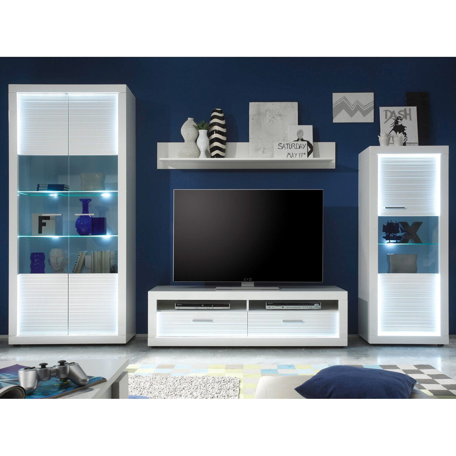tv lowboard inkl beleuchtung starlight 150 cm x 44 cm x 41 cm wei eek a a kaufen bei obi. Black Bedroom Furniture Sets. Home Design Ideas