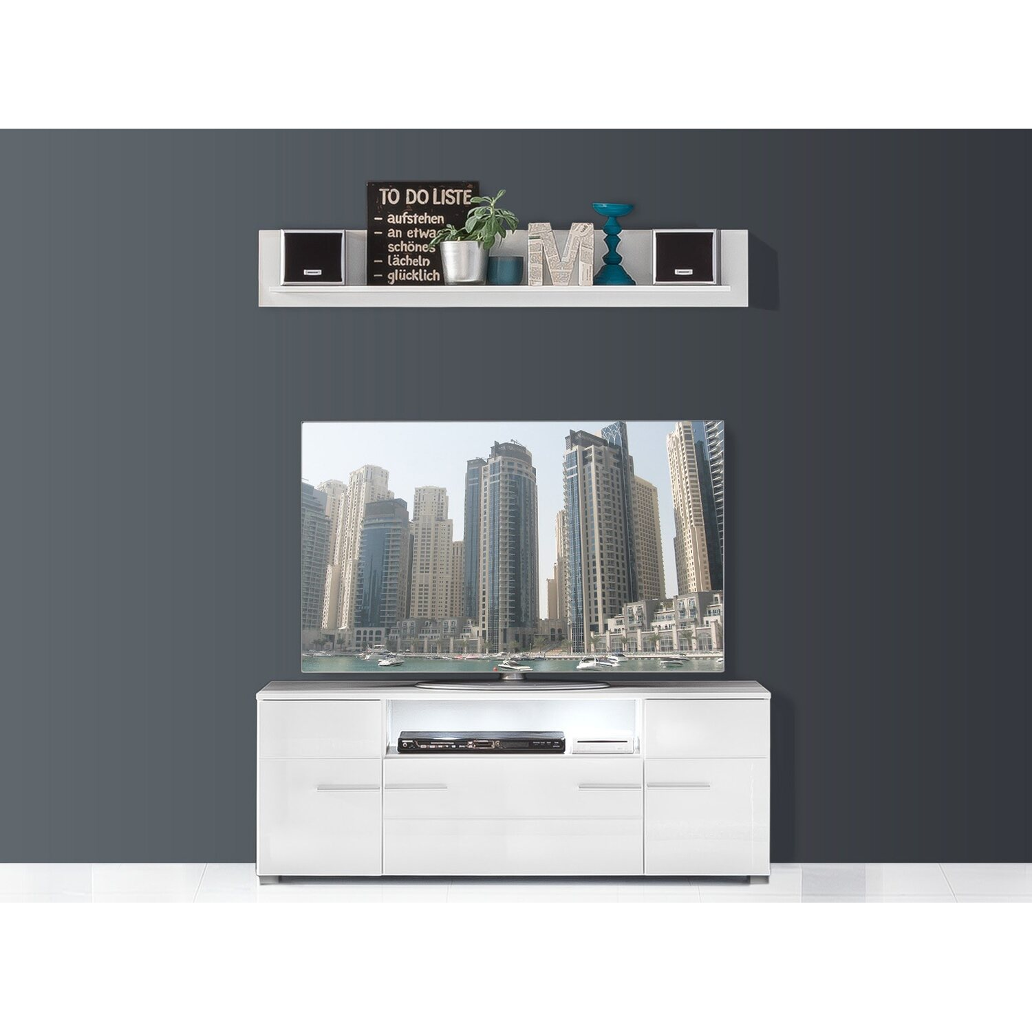 tv element und wandboard vision wei hochglanz kaufen bei obi. Black Bedroom Furniture Sets. Home Design Ideas