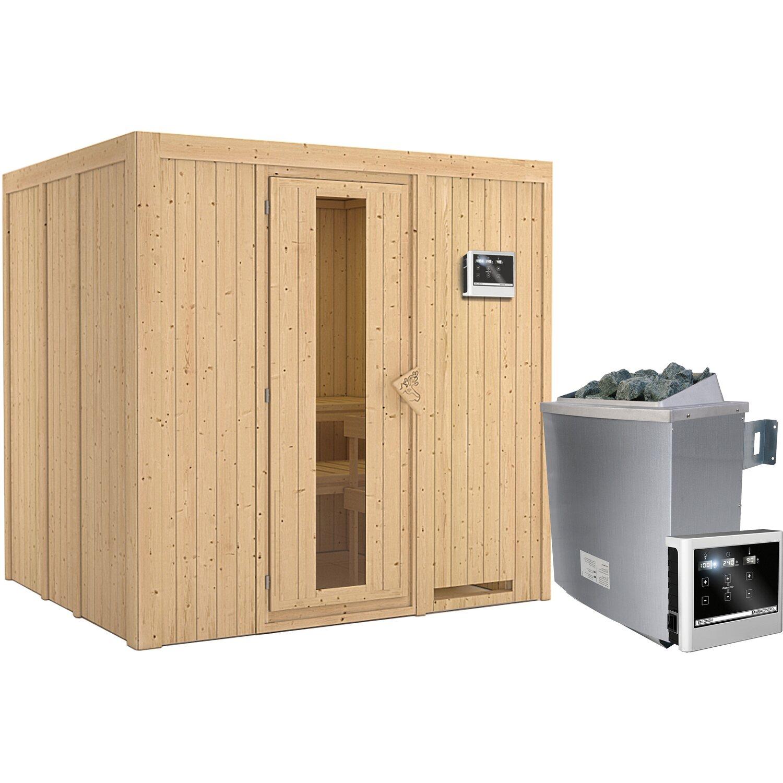 Karibu Sauna Janna + Ofen, ext. Strg., Lautsprecher, Zubehör, Holz-Glastür | Bad > Sauna & Zubehör > Saunen | Karibu