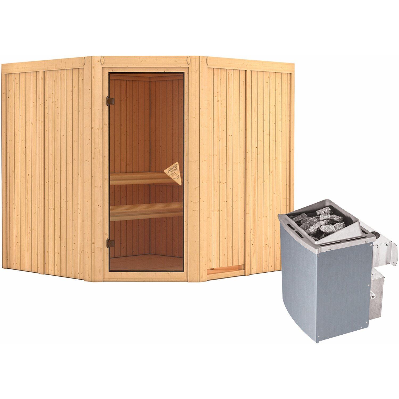 Karibu Sauna Cassia + Ofen eing. Steuerung Lautsprecher, Zubehör Bronze | Bad > Sauna & Zubehör > Saunen | Fichte | Karibu