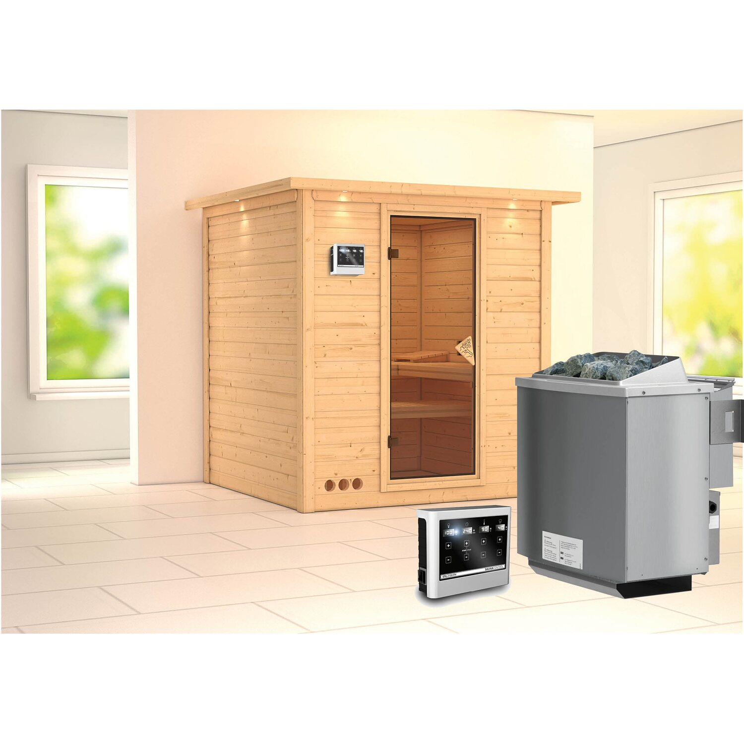 karibu sauna rona bio ofen mit ext strg bluetooth lautspr zubeh r bronze kaufen bei obi. Black Bedroom Furniture Sets. Home Design Ideas