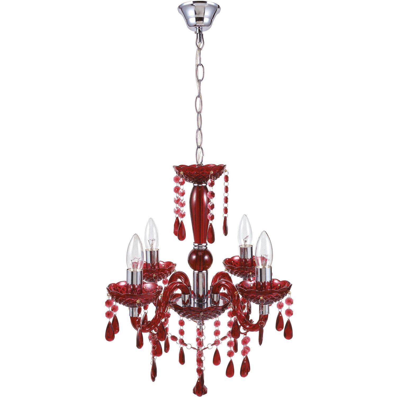 globo kronleuchter cuimbra chrom rot eek e a kaufen bei obi. Black Bedroom Furniture Sets. Home Design Ideas