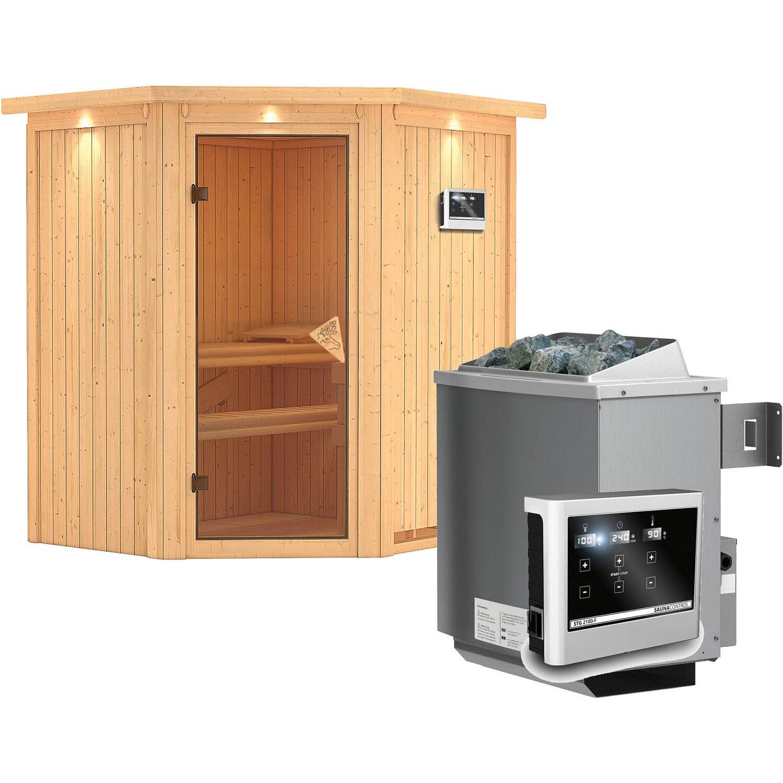 karibu sauna taurin mit energiespart r ofen und steuerung eckeinstieg kaufen bei obi. Black Bedroom Furniture Sets. Home Design Ideas