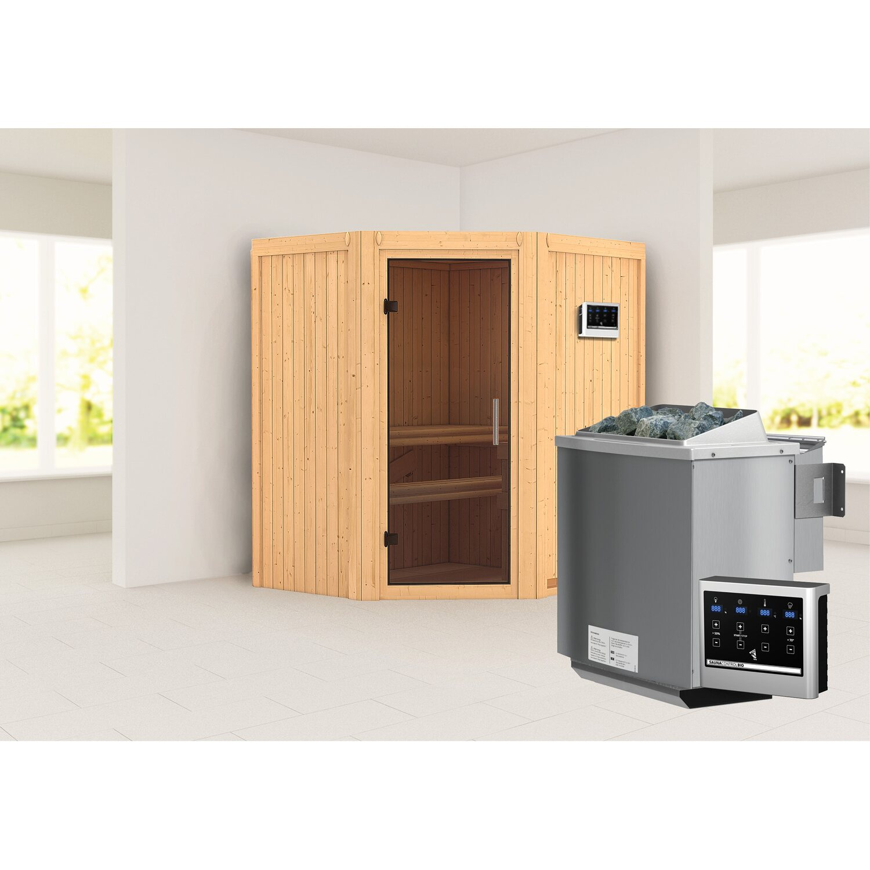 karibu sauna taurin mit ganzglast r ofen und steuerung bio easy eckeinstieg kaufen bei obi. Black Bedroom Furniture Sets. Home Design Ideas