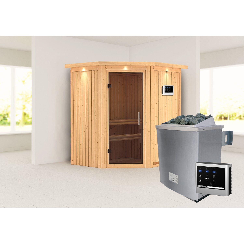karibu sauna taurin mit ganzglast r ofen und steuerung eckeinstieg graphit kaufen bei obi. Black Bedroom Furniture Sets. Home Design Ideas