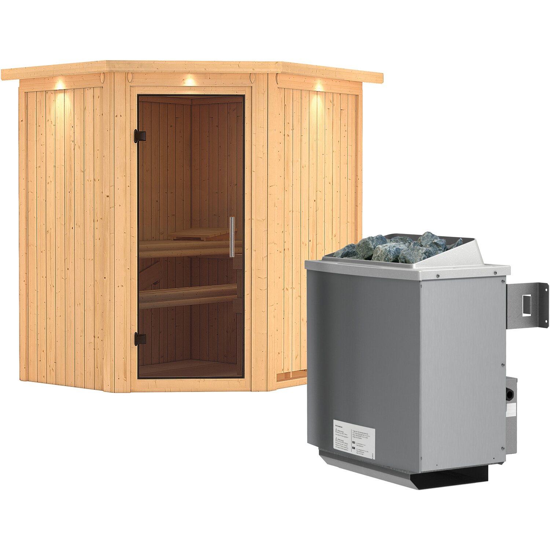 karibu sauna taurin mit ganzglast r satiniert ofen und steuerung eckeinstieg kaufen bei obi. Black Bedroom Furniture Sets. Home Design Ideas