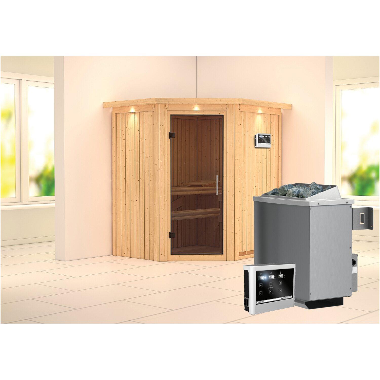 karibu sauna taurin mit ganzglast r ofen und eingebauter steuerung eckeinstieg kaufen bei obi. Black Bedroom Furniture Sets. Home Design Ideas