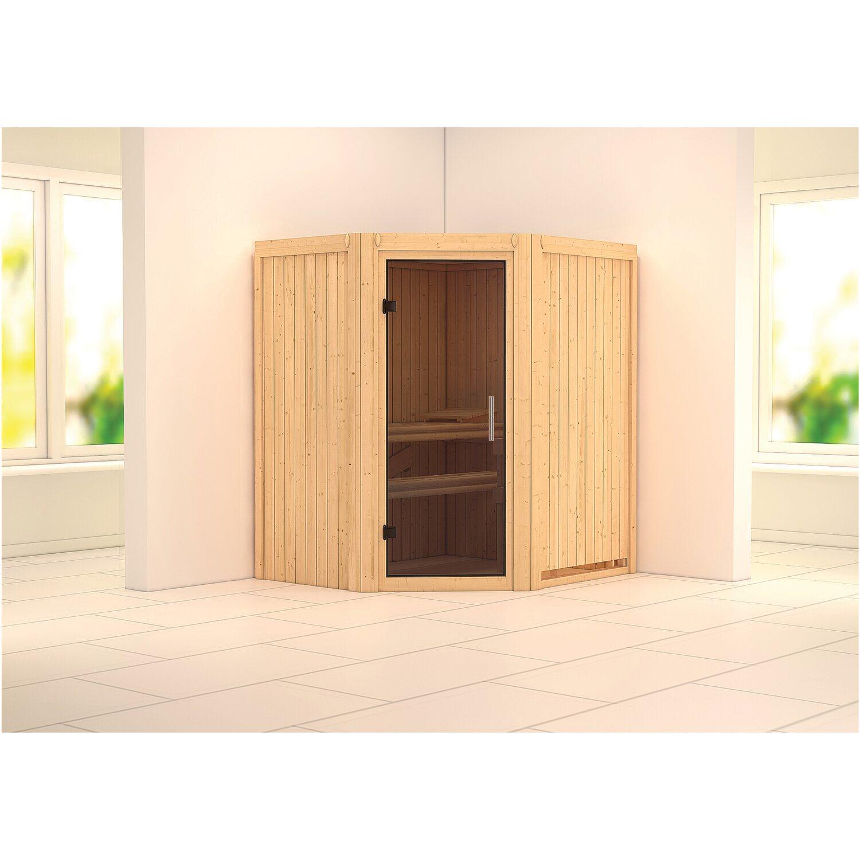 karibu sauna taurin mit ganzglast r ofen und steuerung eckeinst bio easy kaufen bei obi. Black Bedroom Furniture Sets. Home Design Ideas