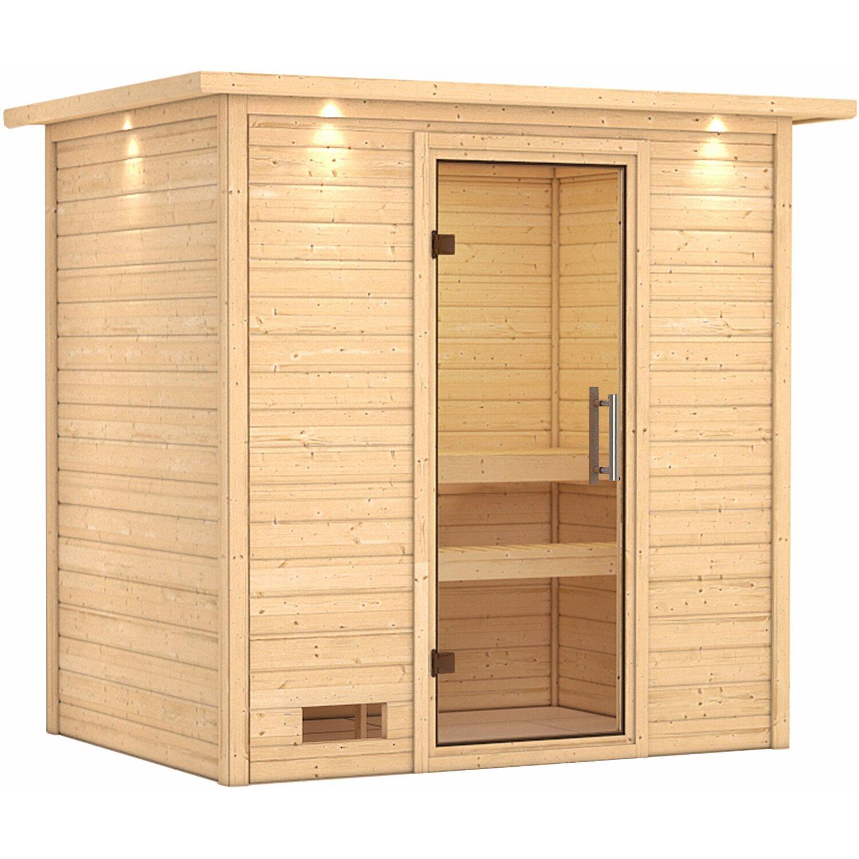 karibu sauna sonja mit klar ganzglast r fronteinstieg mit dachkranz kaufen bei obi. Black Bedroom Furniture Sets. Home Design Ideas