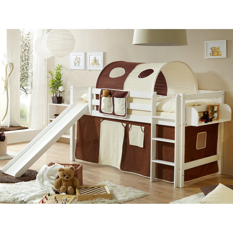 hochbett mit rutsche theo buche wei braun beige kaufen bei obi. Black Bedroom Furniture Sets. Home Design Ideas
