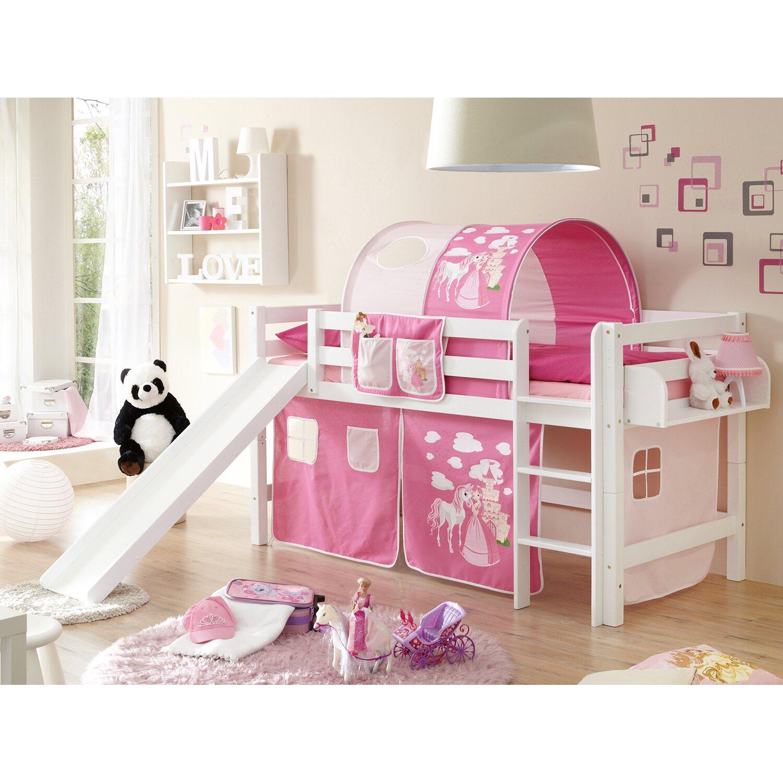 hochbett mit rutsche theo buche wei horse pink kaufen bei obi. Black Bedroom Furniture Sets. Home Design Ideas