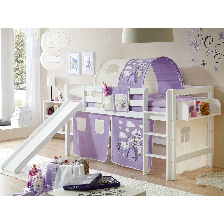 hochbett mit rutsche theo buche wei horse lila kaufen bei obi. Black Bedroom Furniture Sets. Home Design Ideas