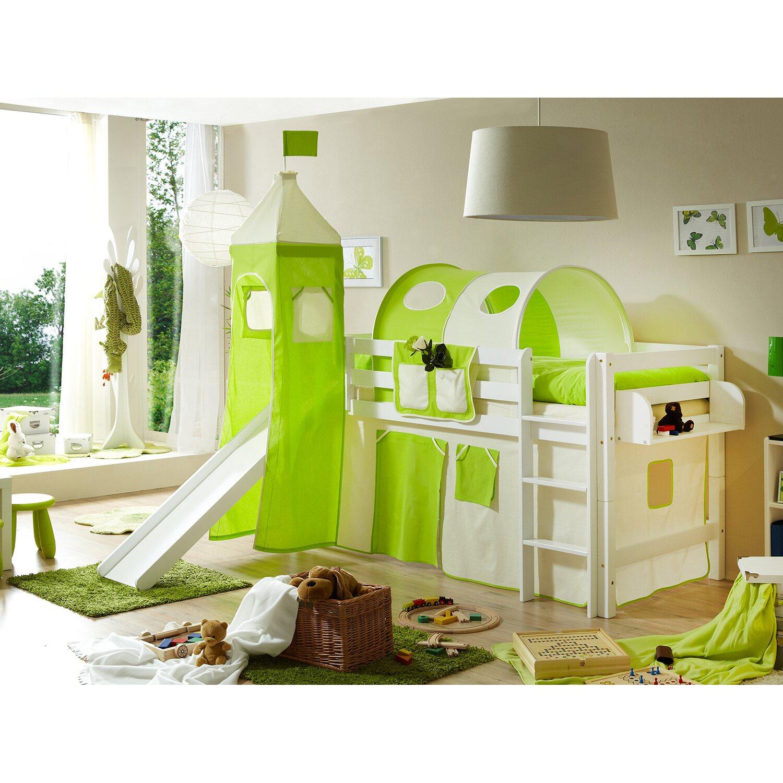 hochbett mit rutsche und turm toby buche wei beige gr n kaufen bei obi. Black Bedroom Furniture Sets. Home Design Ideas