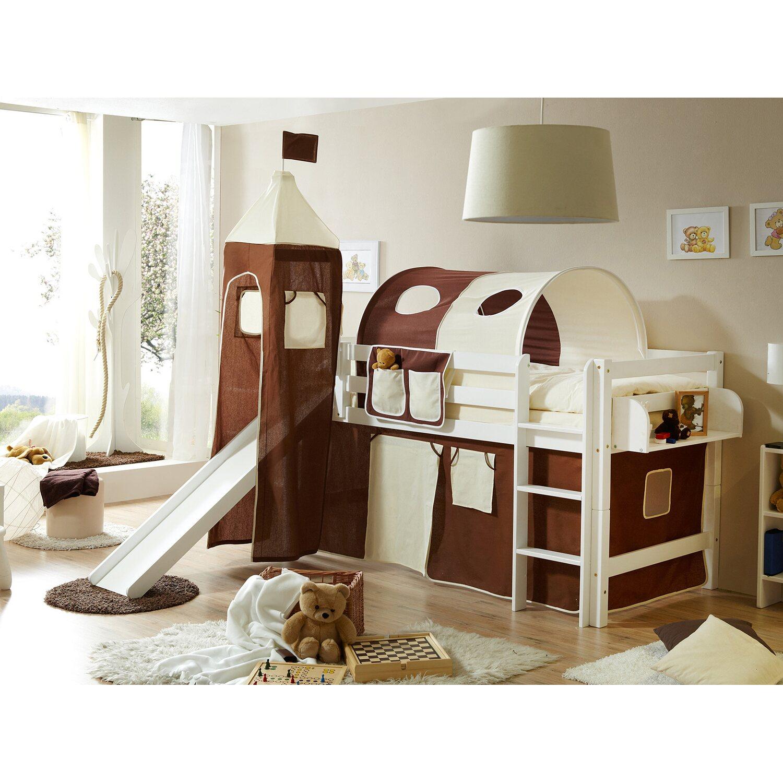 hochbett mit rutsche und turm toby buche wei braun beige kaufen bei obi. Black Bedroom Furniture Sets. Home Design Ideas
