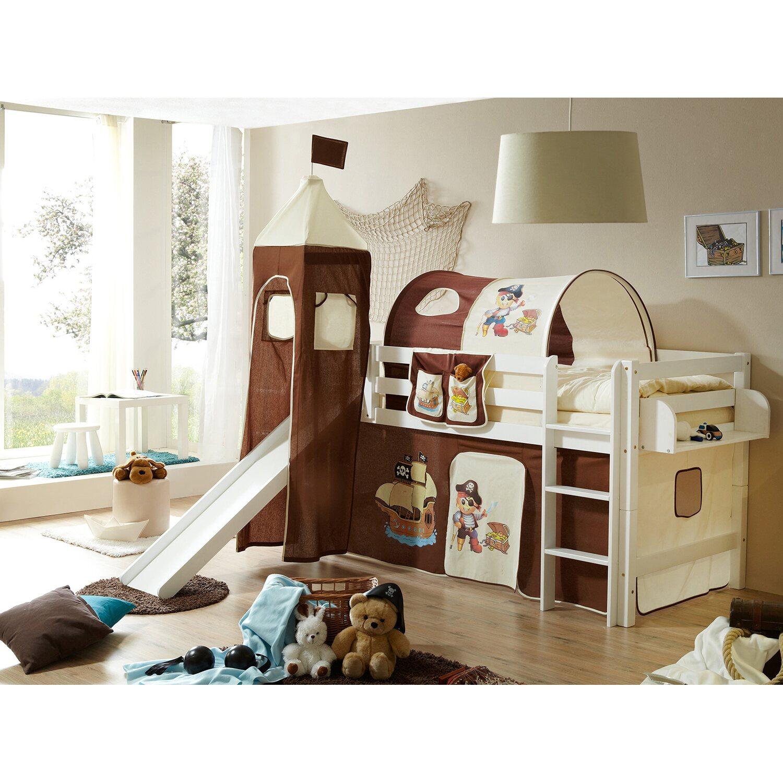 hochbett mit rutsche und turm toby buche wei pirat braun. Black Bedroom Furniture Sets. Home Design Ideas