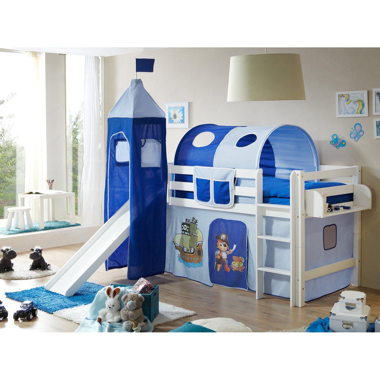 hochbett mit rutsche und turm toby buche wei pirat hellblau dunkelblau kaufen bei obi. Black Bedroom Furniture Sets. Home Design Ideas