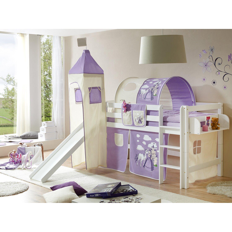 hochbett mit rutsche und turm toby buche wei horse lila kaufen bei obi. Black Bedroom Furniture Sets. Home Design Ideas