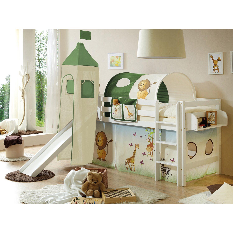 hochbett mit rutsche und turm toby buche wei safari. Black Bedroom Furniture Sets. Home Design Ideas
