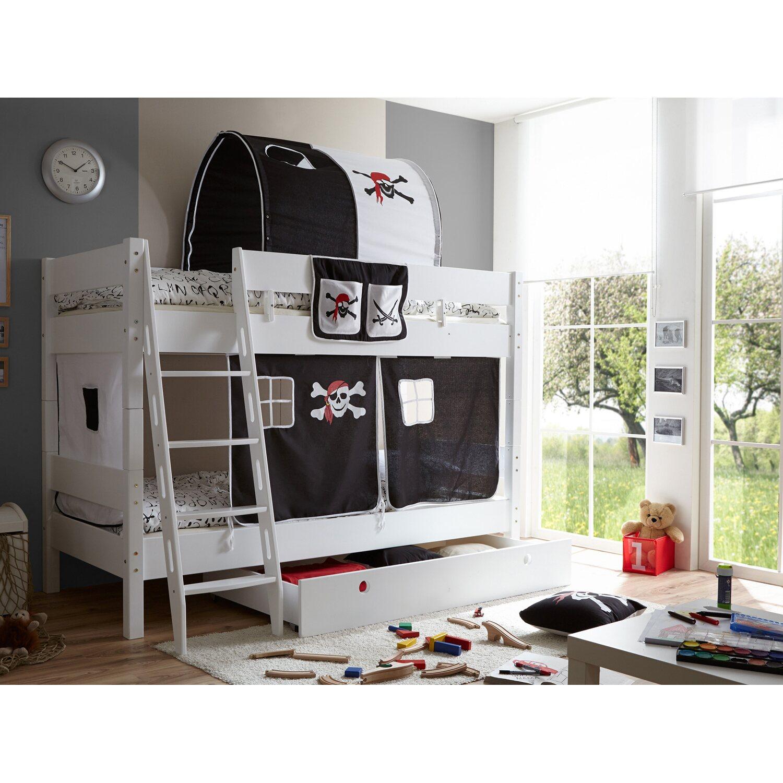 etagenbett mit schr gleiter kenny buche wei pirat schwarz wei kaufen bei obi. Black Bedroom Furniture Sets. Home Design Ideas