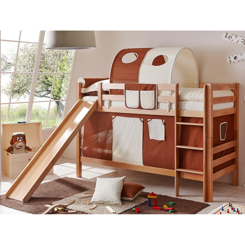 etagenbett mit rutsche lupo buche natur braun beige kaufen bei obi. Black Bedroom Furniture Sets. Home Design Ideas