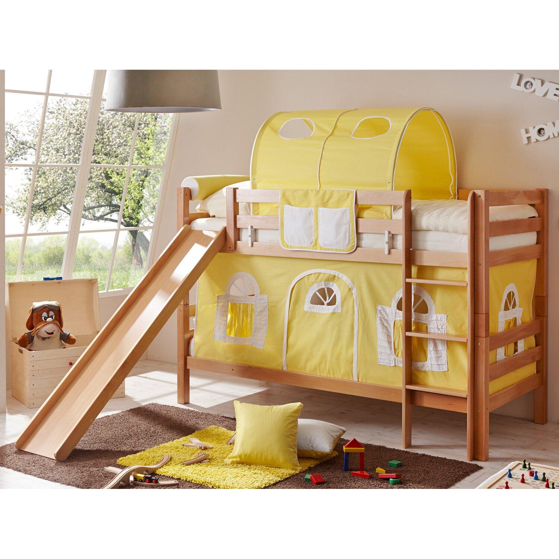 etagenbett mit rutsche lupo buche natur gelb wei kaufen bei obi. Black Bedroom Furniture Sets. Home Design Ideas