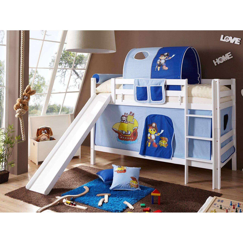 etagenbett mit rutsche lupo buche wei pirat hellblau dunkelblau kaufen bei obi. Black Bedroom Furniture Sets. Home Design Ideas