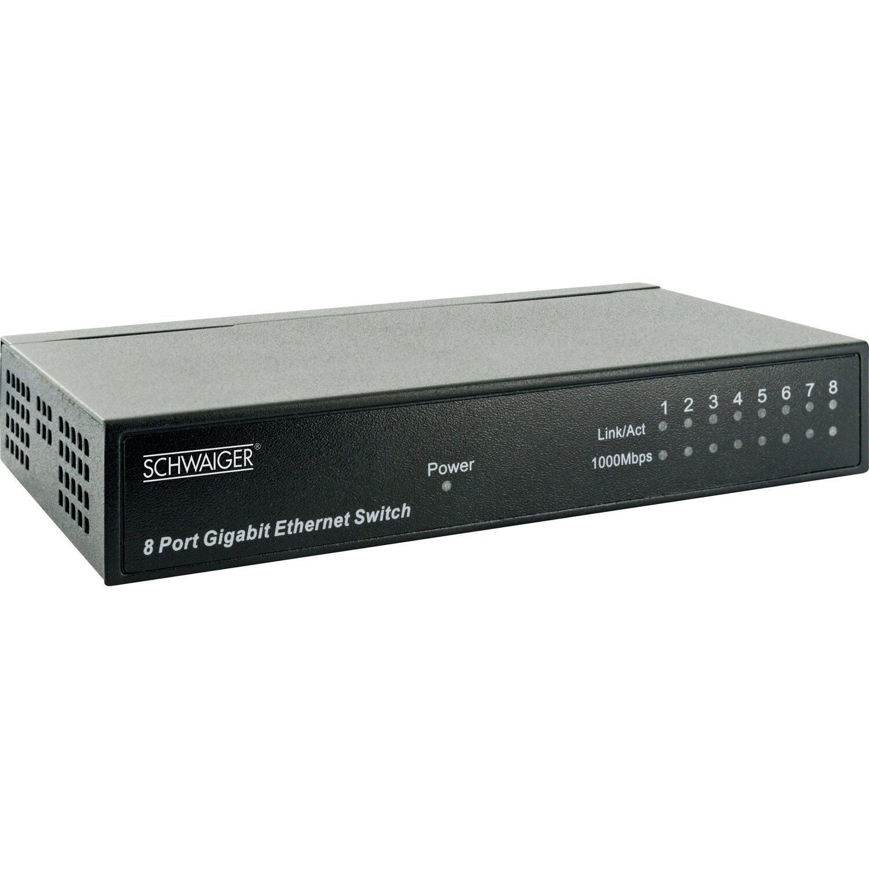Schwaiger 8-Port Gigabit Netzwerk-Switch Schwarz
