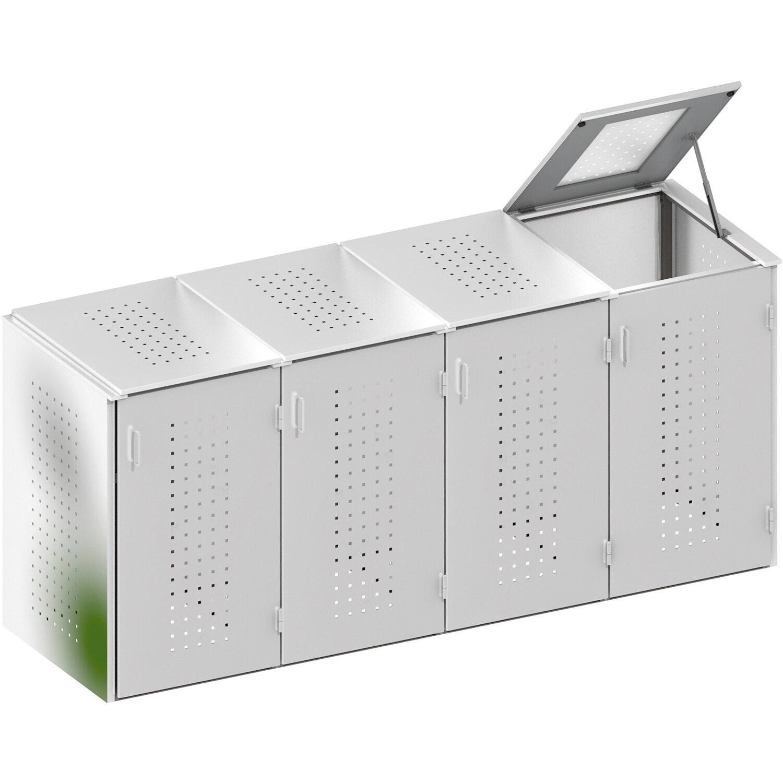 m lltonnenbox system binto edelstahl 4er box mit edelstahl deckel kaufen bei obi. Black Bedroom Furniture Sets. Home Design Ideas