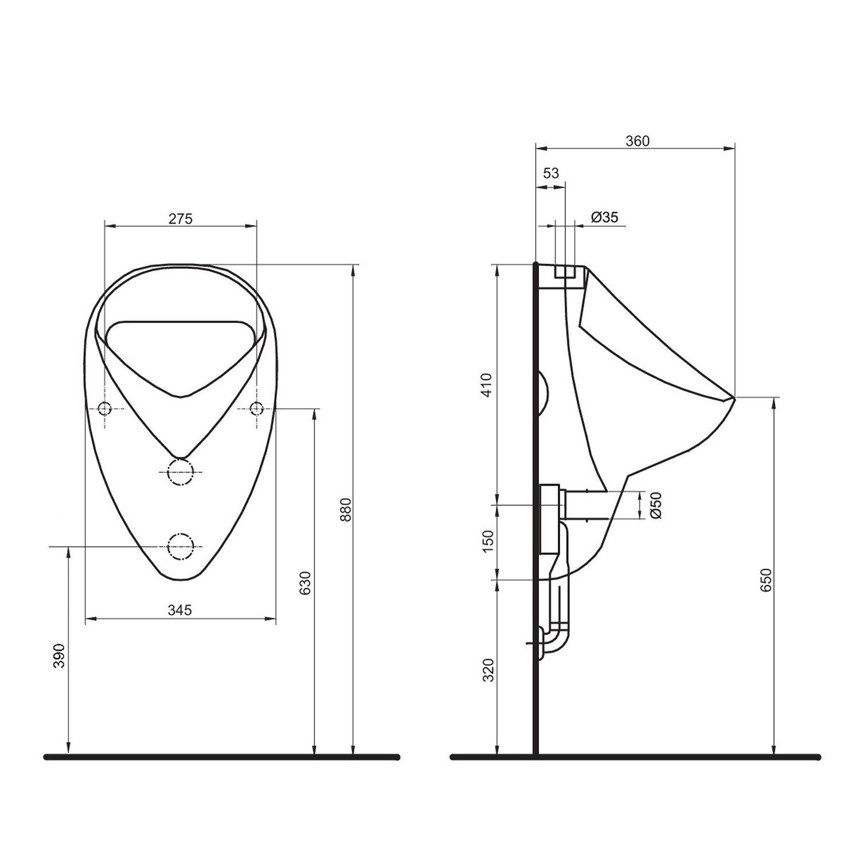 sanicomfort urinal base zulauf oben wei kaufen bei obi. Black Bedroom Furniture Sets. Home Design Ideas