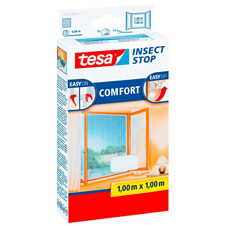 tesa fliegengitter fenster mit klettband comfort wei 100 cm x 100 cm kaufen bei obi. Black Bedroom Furniture Sets. Home Design Ideas