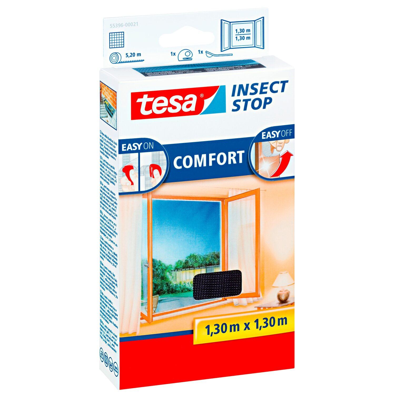 tesa fliegengitter fenster mit klettband comfort anthrazit 130 cm x 130 cm kaufen bei obi. Black Bedroom Furniture Sets. Home Design Ideas