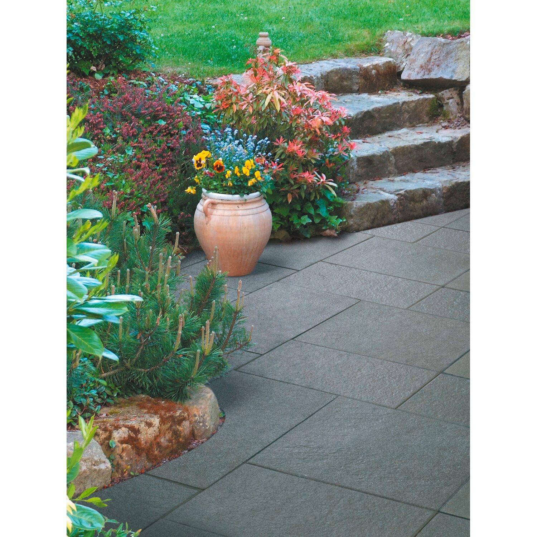 Terrassenplatte Beton Finessa Schwarz-Basalt-Geflammt 60 x 60 x 4 cm