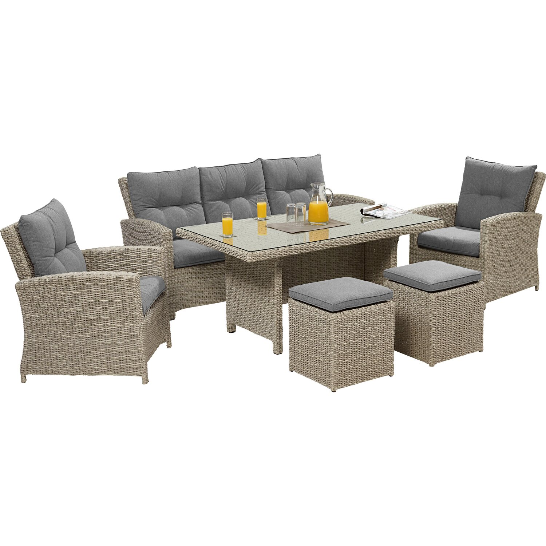 obi esstisch lounge gruppe vermont cloud fossil polyrattan 6 tlg kaufen bei obi. Black Bedroom Furniture Sets. Home Design Ideas