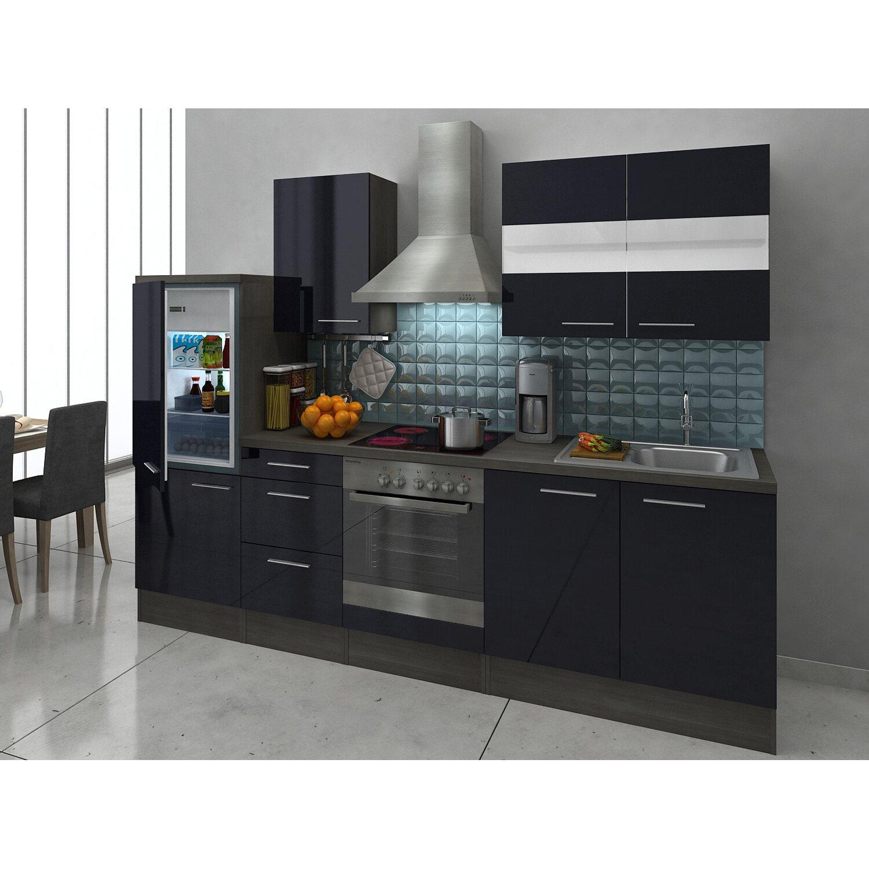 Respekta Premium Küchenzeile RP270ESC 270 cm Schwarz-Eiche Grau Nachbildung