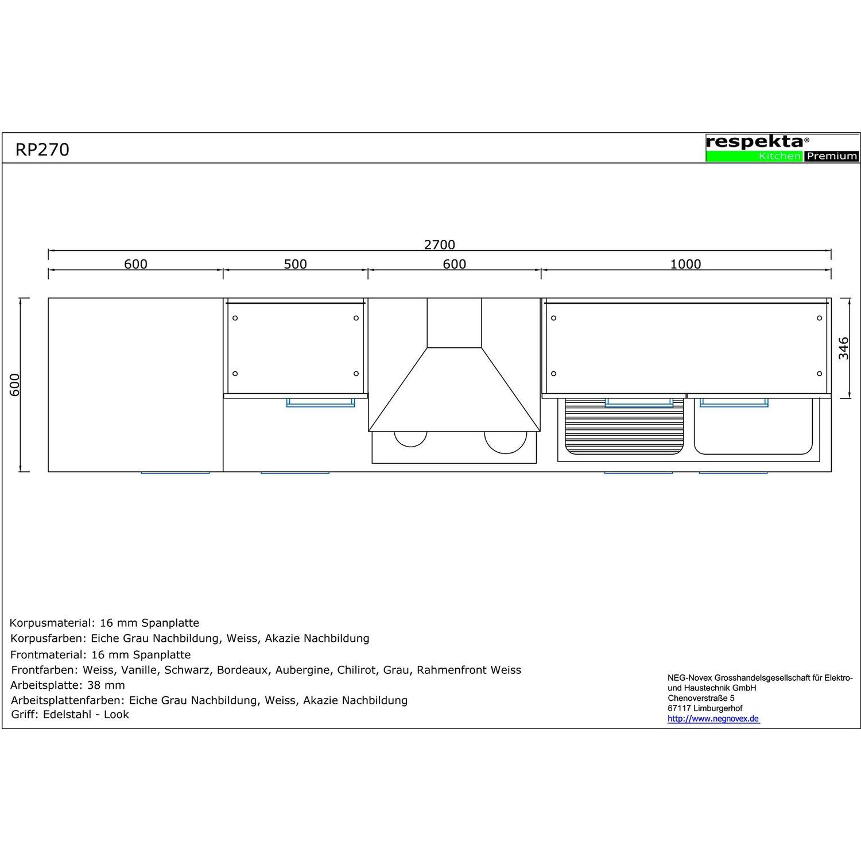 Küche Weiß Eiche Grau: Respekta Premium Küchenzeile RP270HEW 270 Cm Weiß-Eiche