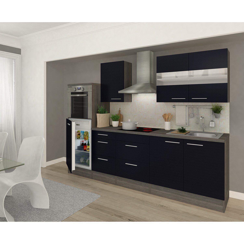Respekta Premium Küchenzeile RP270HES 270 cm Schwarz-Eiche Grau Nachbildung