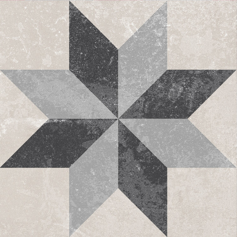Feinsteinzeug scandic dekor 9 glasiert matt 18 6 cm x 18 6 for Dekor fur badezimmer fliesen