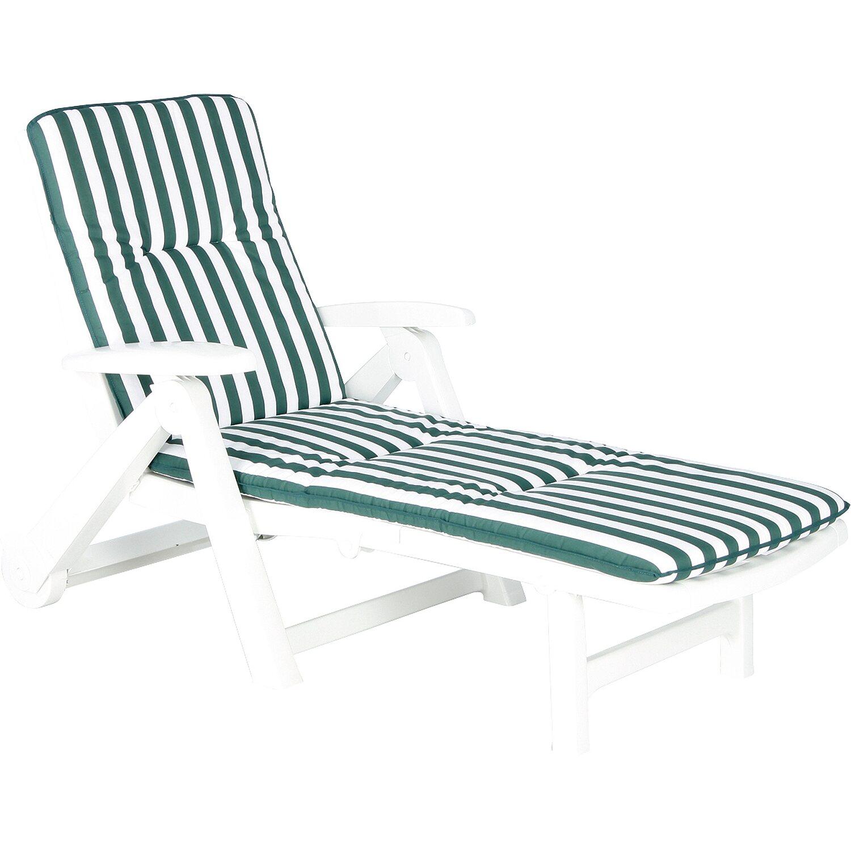 best freizeitmöbel Rollliege weiß aus Kunststoff inkl. Auflage