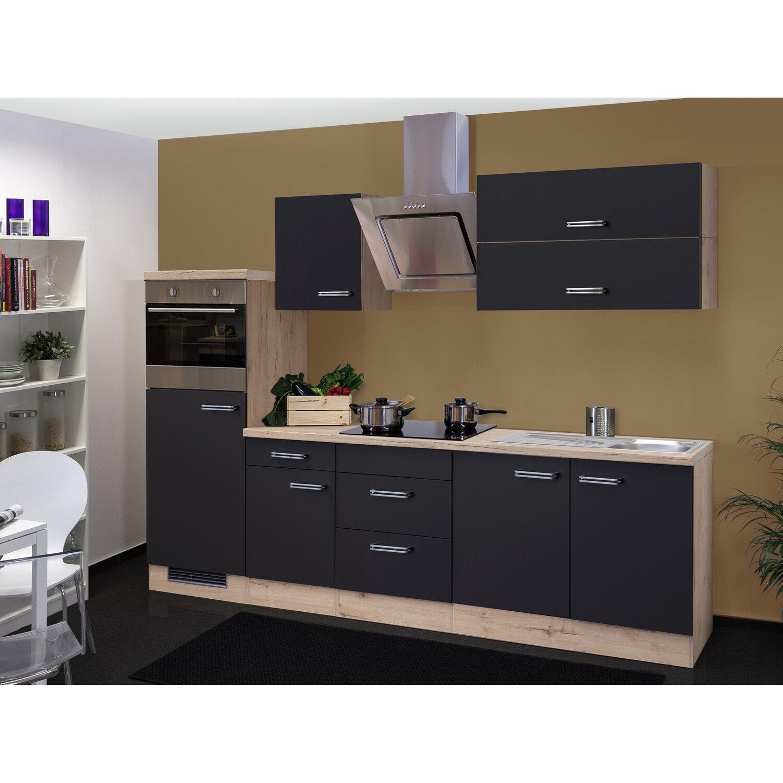Flex-Well Exclusiv Küchenzeile Lara 270 cm Anthrazit-San Remo Eiche NB