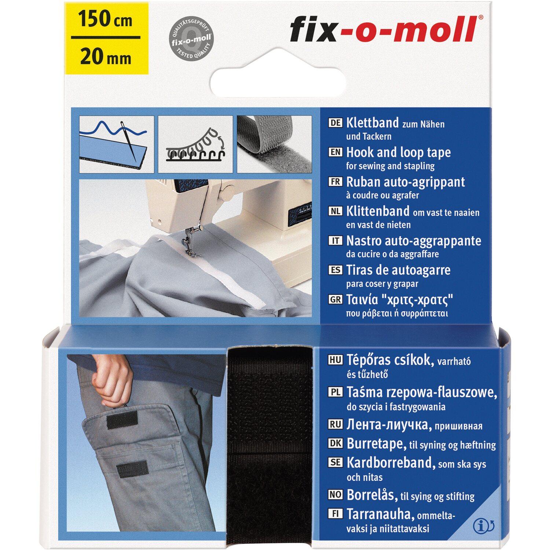 fix o moll fix-o-moll Klettband zum Nähen Schwarz 150 cm x 20 mm