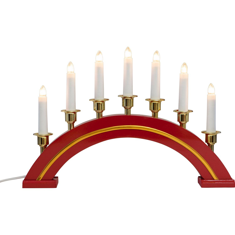 Holzleuchter Rot Mit Goldrand 7 Lichter Klar Kaufen Bei Obi