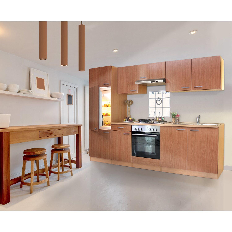 Respekta Küchenzeile ohne E-Geräte LBKB270BBMA 270 cm Buche Nachbildung